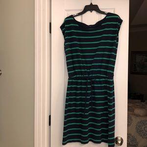 Gap navy & green striped boatneck dress